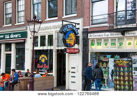 AMSTERDAMNETHERLANDS: The Bulldog coffeeshop in Amsterdam down town on April 272015 the Netherlands.