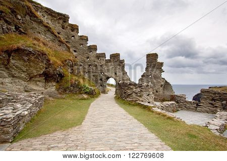 Ruins Of Tintagel Castle In North Cornwall Coast, England