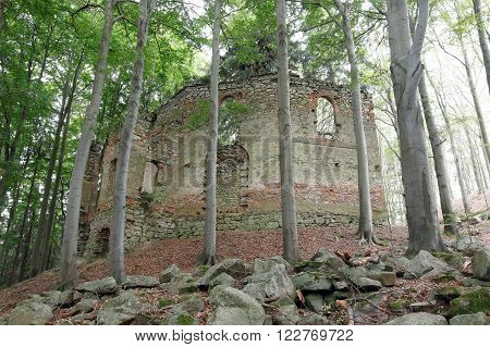 Ruins of the Baroque pilgrimage chapel of St Mary Magdalene on the mount Little Blanik from 1753