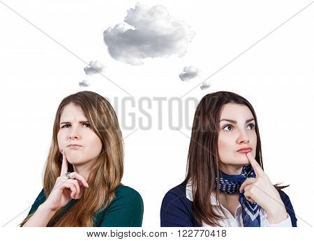 Young women daydream with white cloud owerhead  isolated on white background