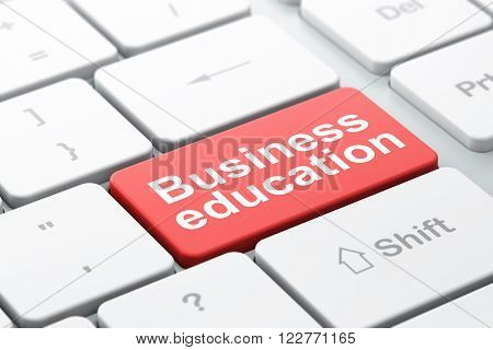 Education concept: Business Education on computer keyboard background