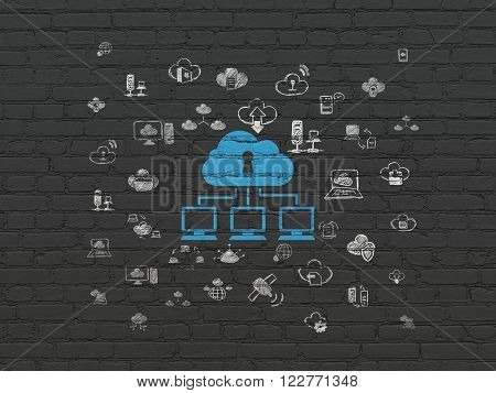 Cloud computing concept: Cloud Network on wall background