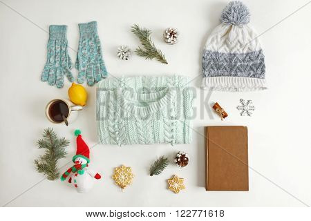 Winter composition isolated on white background