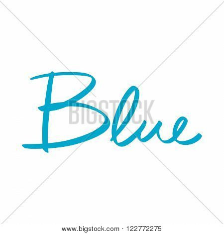 hand-written name of the color blue art