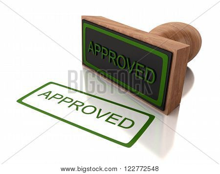 3D Illustration. Stamp approved with green text. Isolated white background.