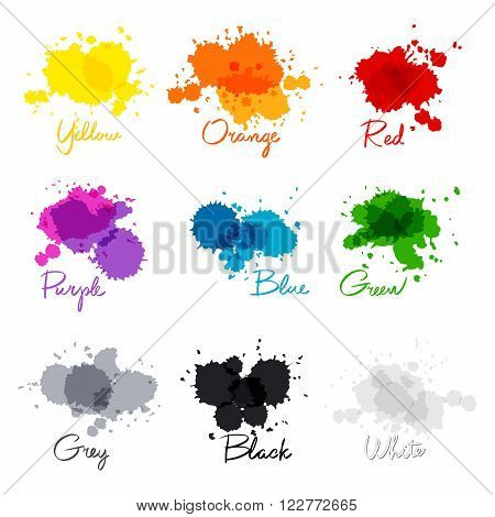 Signed The Names Of Colors. Colorful Watercolor Drops.  Hand-written Name Of The Color Yellow, Orang