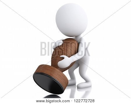 3D Illustration. white people with seal . Isolated white background.