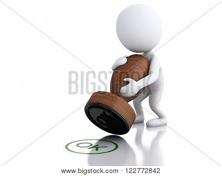 3D Illustration. white people with seal OK. Isolated white background.