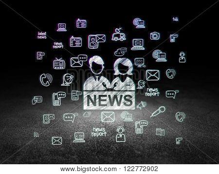 News concept: Anchorman in grunge dark room