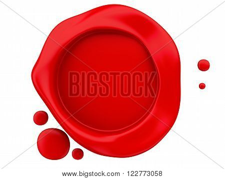3D Illustration. Red wax seal. Isolated white background.