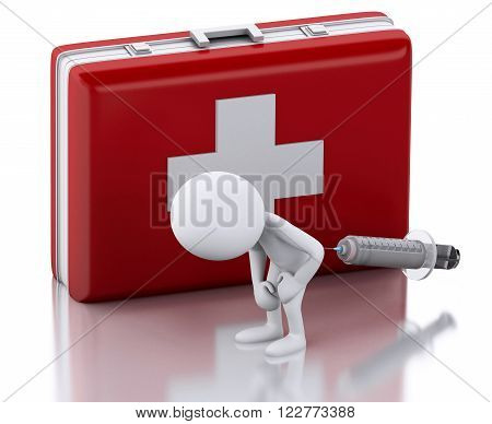 3D Illustration. White people with a syringe and first aid kit. Medicine concept. Isolated white background.