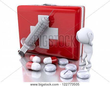 3D Illustration. White people with a syringe first aid kit and pills. Medicine concept. Isolated white background.