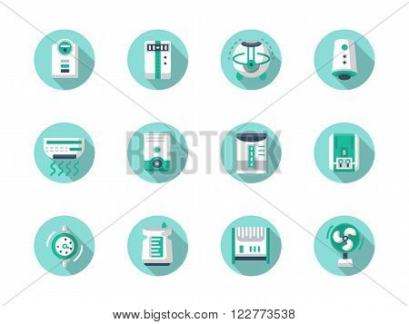 Appliances for air improvement. Home and office climate. Ionizing, purification, conditioning of air. Set of flat color round vector icons, long shadow. Element for web design, business, mobile app.