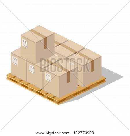 Packing product boxes icon design style. Box delivery on wood pallet, package service, transportation parcel, deliver container, receive pack, send and logistic. Isolated packing product icon