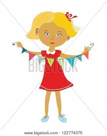 Child with buntings flags party or birthday background vector illustration