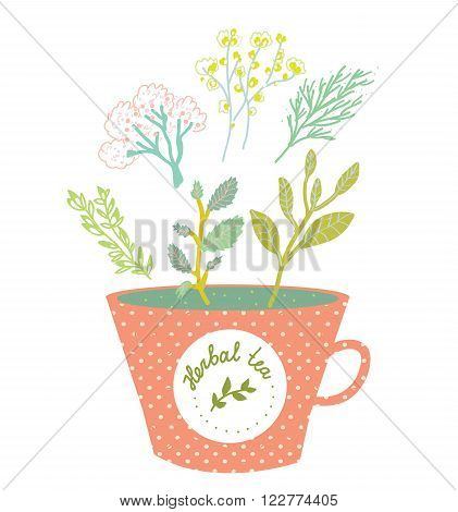 Herbal tea cup retro style vector illustration