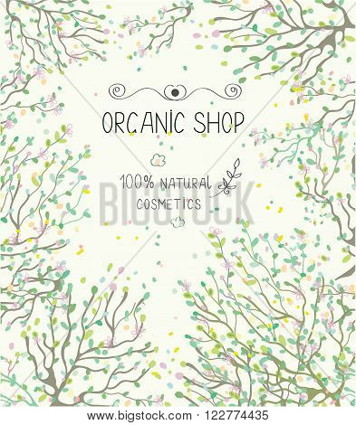 Organic shop template for natural products - vector illlustration