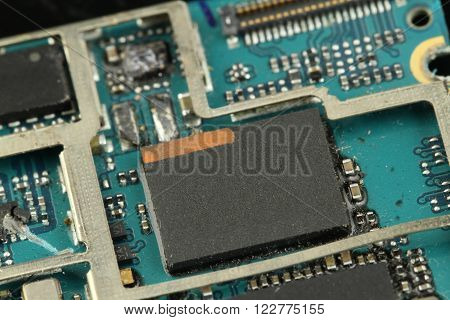 electronic Blue circuit board destroy -close up - macro -(Selective focus)