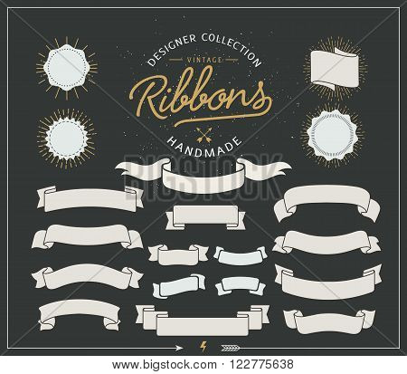 Collection of starbursts labels, ribbons Retro vintage style