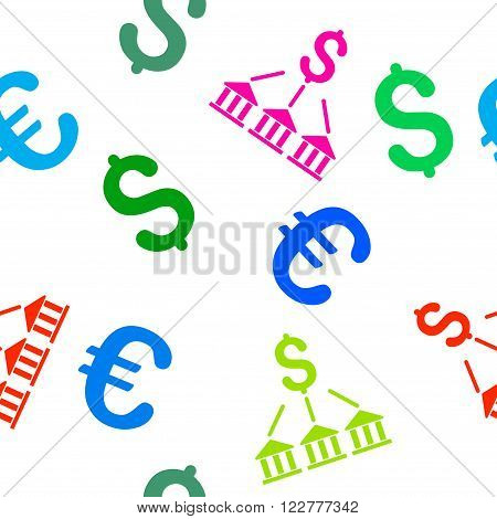 Bank Association vector repeatable pattern with dollar and euro currency symbols. Style is flat colored icons on a white background.