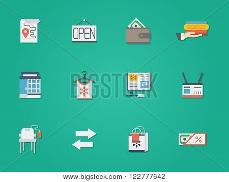 Pawnshop, commission shop, second-hand objects store. E-commerce. Online store for used goods. Shopping buttons. Set of flat color round vector icons. Element for web design, business, mobile app.