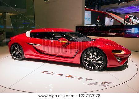 GENEVA SWITZERLAND - MARCH 1 2016: The 2016 NanoFlowcell Quant FE electric sports car shown at the 86th International Geneva Motor Show in Palexpo Geneva.