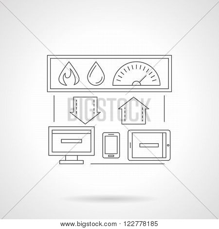 Smart house technology system. Centralized control of heating, water. Computer devices and house connection. Single detailed flat line vector icon. Web design elements for business, site, mobile app.