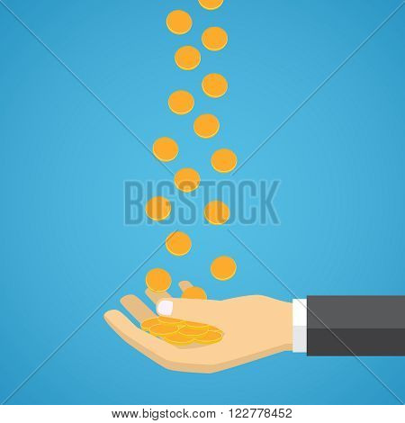 Gold coins fall into the hand. Passive income. Flat design.