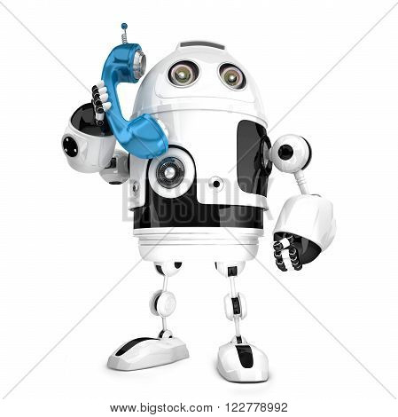 3D Robot with phone tube. Isolated over white. Contains clipping path