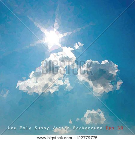 vector low poly illustration of the sky with sun and clouds