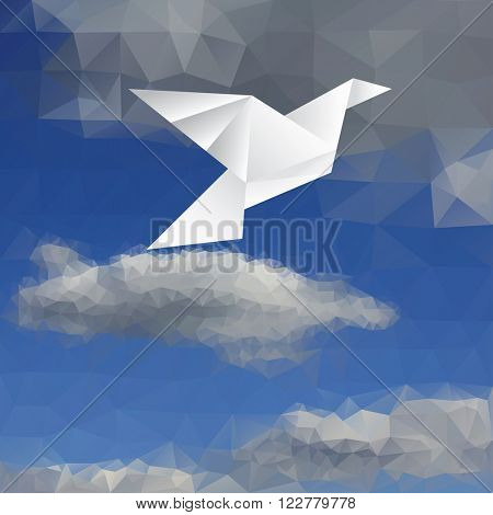vector illustration with paper bird on paper sky, low poly