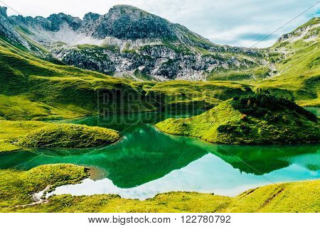 Schrecksee in the bavarian alps allgaeu mountainlake