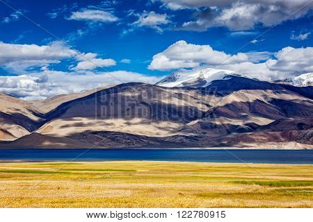 Himalayan mountain lake Tso Moriri in Himalayas. Korzok, Changthang area, Ladakh, Jammu and Kashmir, India