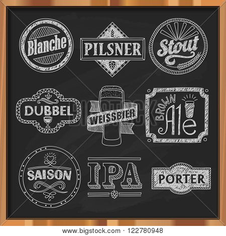 Hand drawn craft beer labels. Vector illustration of various beer styles. Pilsner, stout, porter, brown ale, blanche, dubbel, saison, IPA and weissbier. Vintage beer emblems on a chalkboard