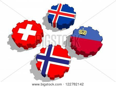 European Free Trade association of four national economies. Politic and economic union members flags on cog wheels.