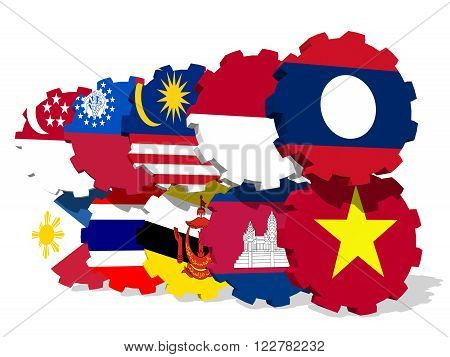 ASEAN - political and economic organization of ten Southeast Asian countries. Union members flags on gears