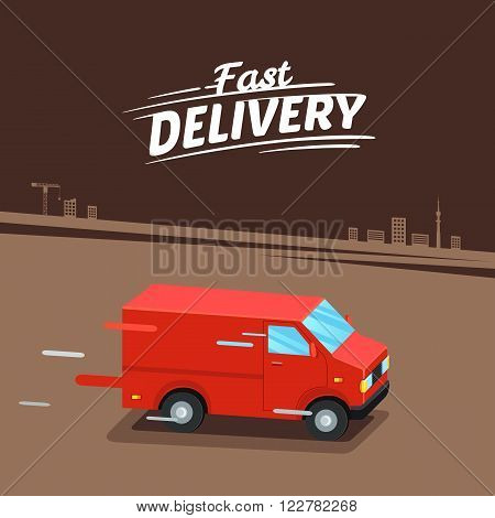 Delivery Concept. Fast delivery van. Fast delivery sign. Vector illustration