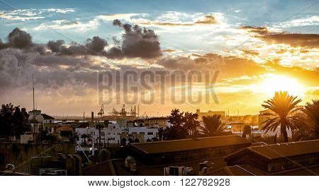 Limassol cityscape in evening. Cyprus. Panoramic photo
