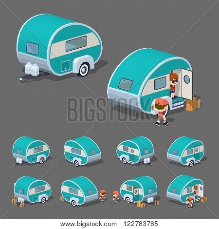 Turquoise retro trailer house. 3D lowpoly isometric vector illustration. The set of objects isolated against the grey background and shown from different sides