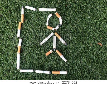 dead massage hangman from cigarette for healthy concept