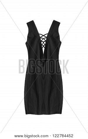 Black formal sleeveless dress with laces isolated over white