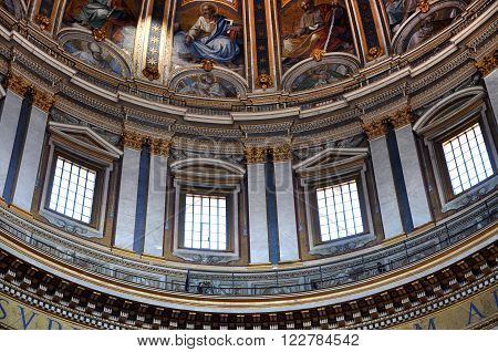 Murals, Mosaic And Paintings On The Ceiling Of The Saint Peter Basilica In Vatican
