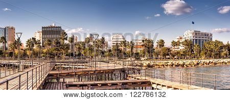 Panoramic view of Limassol city. Color tone tuned photo