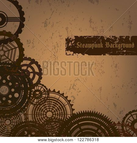 Vector grunge background in steam punk style with rusty gears. Vintage steam punk cogwheels on grungy backdrop with text