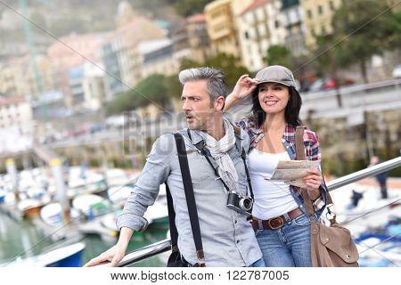 Couple enjoying sightseeing on travel day