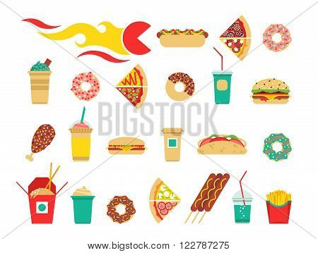 Fast food menu set. Vector fast food menu. Fast food isolated. Flat fast food menu. Fast food oder.
