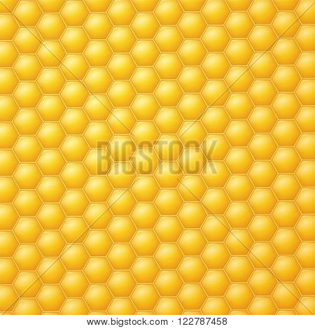 Yellow honeycomb background in vector. Honeycomb with reflection light