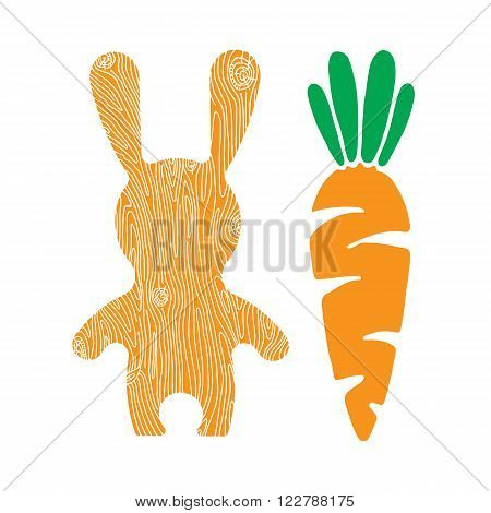 Vector veg illustration. Vector rabbit and carrot. Vector bunny. Bunny and yummy carrot. Bunny cartoon flat style icons.