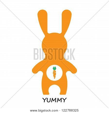 Vector veg illustration. Vector rabbit and carrot. Bunny and yummy carrot. Bunny cartoon flat style icons. Funny bunny easter rabbit. Easter flat rabbit bunny vector.
