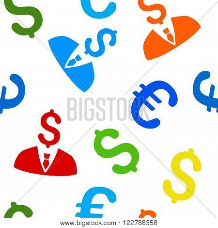 Businessman vector repeatable pattern with dollar and euro currency symbols. Style is flat colored icons on a white background.